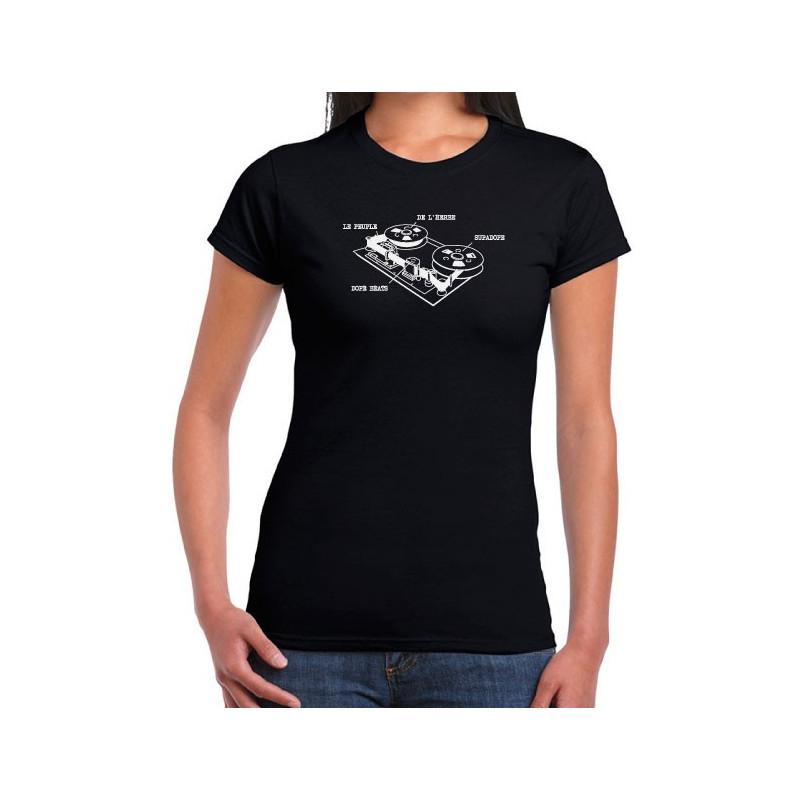 T-Shirt Fille Magneto Noir impression blanche