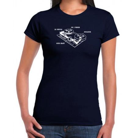 Navy Tape recorder Girl T-shirt white print