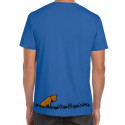 T-Shirt Next Level bleu impression jaune, marron, noir