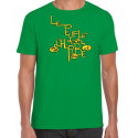 T-Shirt Next Level vert impression jaune, marron, noir